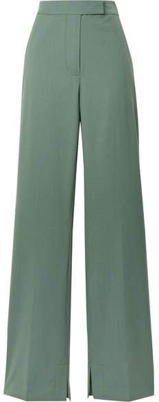 Wool-blend Crepe Flared Pants - Gray green