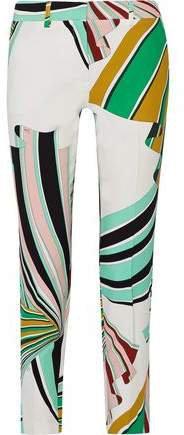 Printed Stretch-twill Skinny Pants