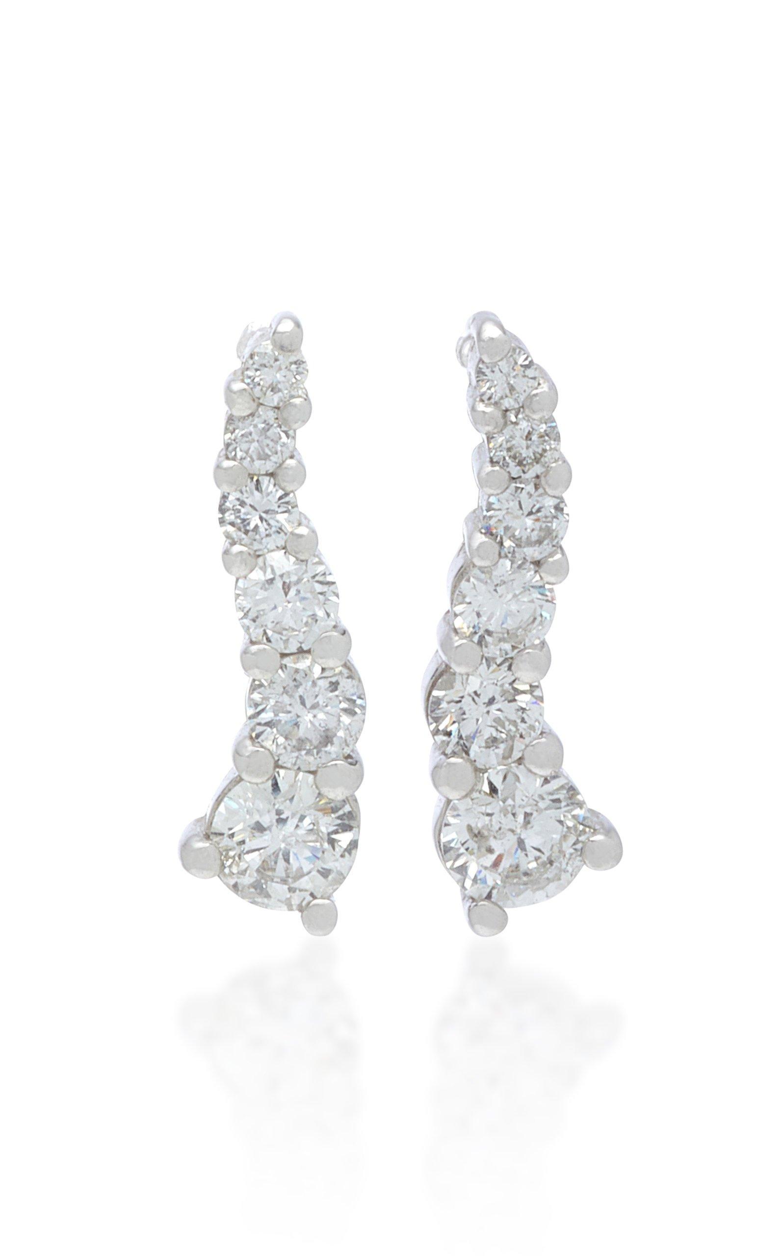 LYNN BAN Larvae Sterling Silver and Diamond Earrings