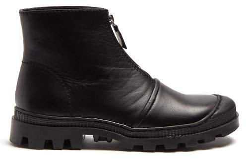 Zip Front Leather Ankle Boots - Womens - Black