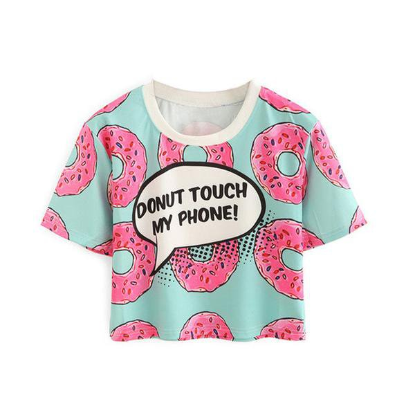 """""""Donut touch my phone!"""" Crew Neck T-shirt"""