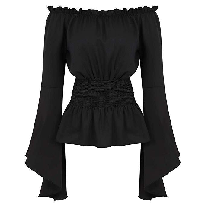 Amazon.com: Womens Gothic Renaissance Blouse Long Sleeve Off Shoulder Medieval Victorian Costume Shirt Boho Corset Tops Black L: Clothing