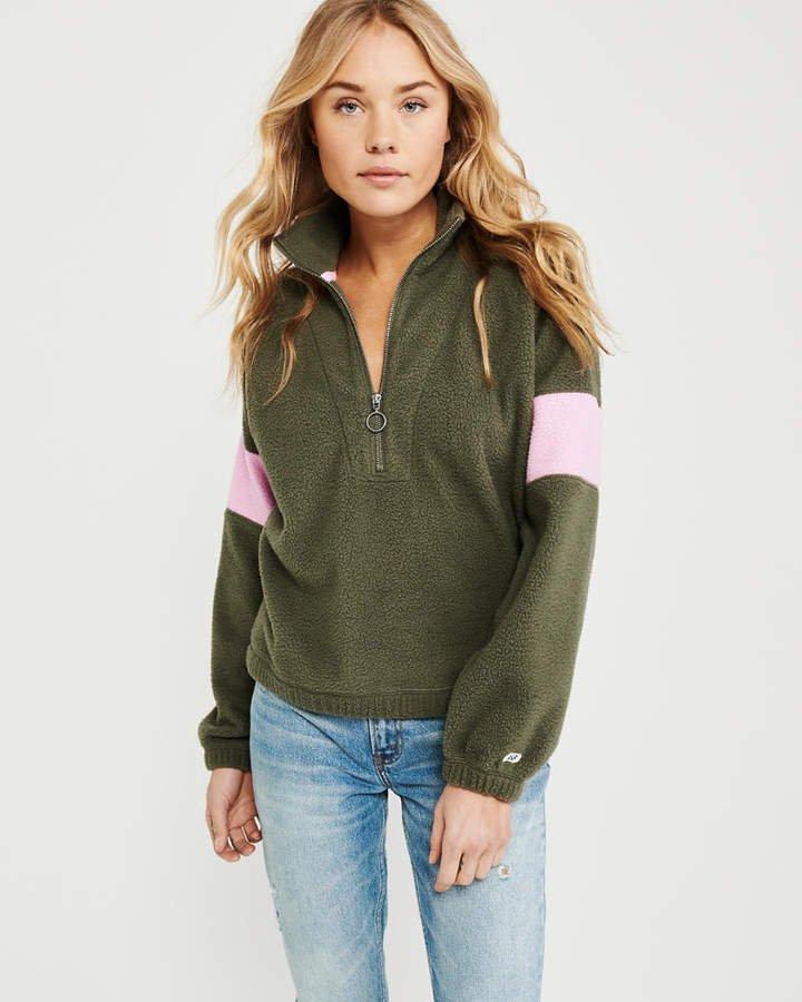 A&F Women's Colorblock Sherpa Half-Zip Sweatshirt in Olive Green Green - Size M