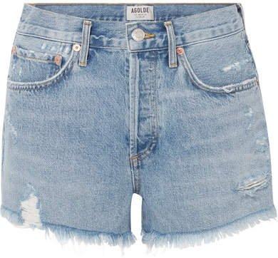 AGOLDE - Parker Distressed Denim Shorts - Light denim
