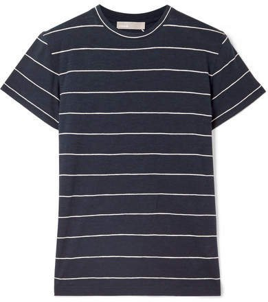 Striped Pima Cotton-jersey T-shirt - Navy