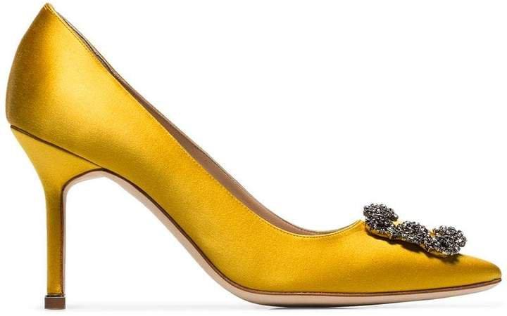 yellow Hangisi 90 crystal buckle silk satin pumps