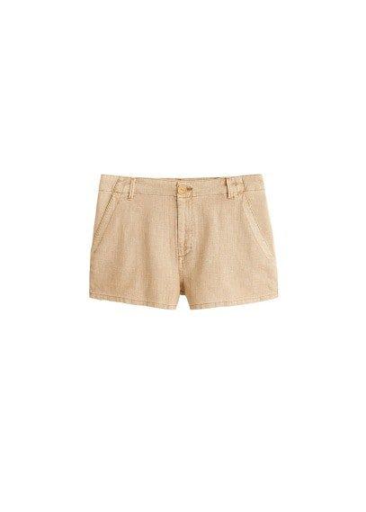 MANGO Cotton linen-blend shorts