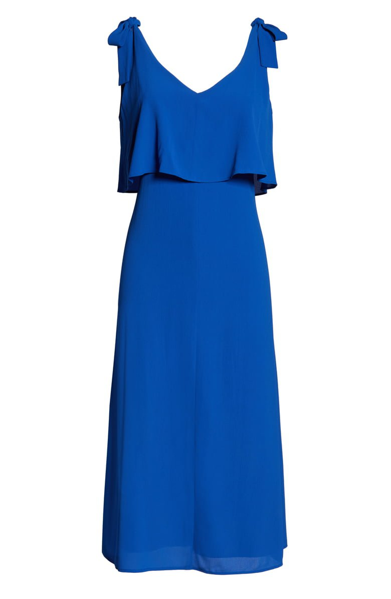Charles Henry Tie Shoulder Popover Midi Dress | Nordstrom