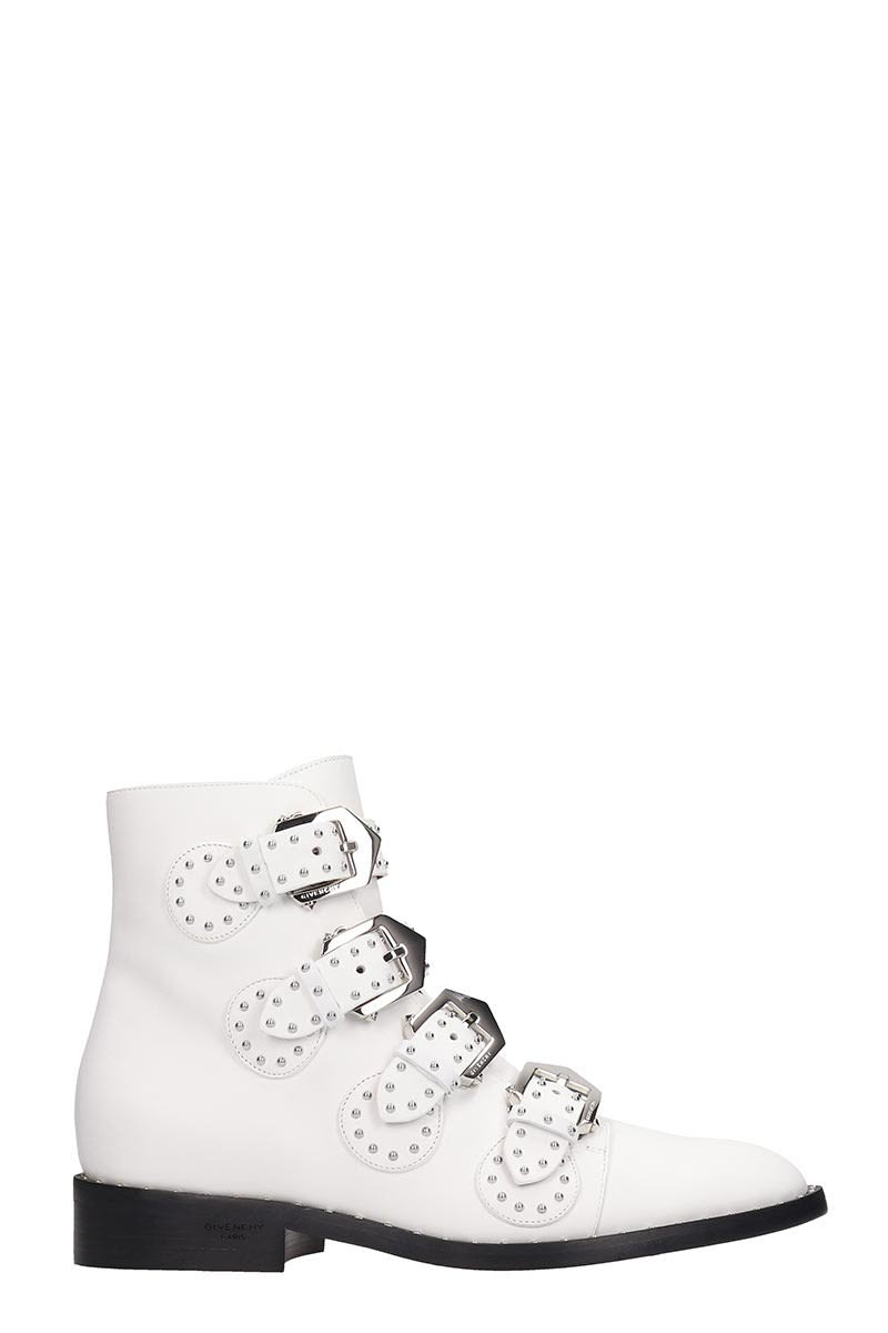 Givenchy Elegant Fl Ankle Boots In White Leather