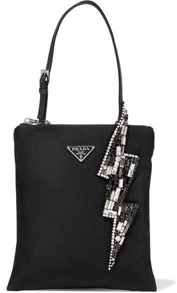 Crystal-embellished Nylon Tote - Black