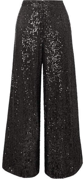 Gilia Sequined Tulle Wide-leg Pants - Black