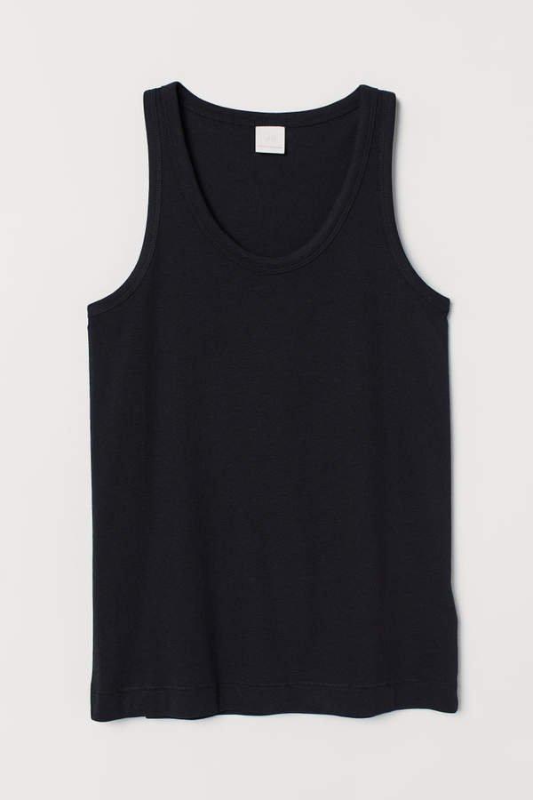Cotton-blend Tank Top - Black