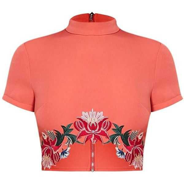 Charis Coral Floral Embroidered Crop Top - Buscar con Google