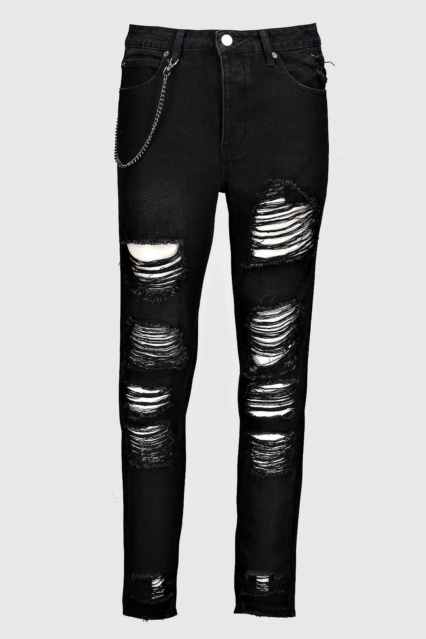 Men's Black Ripped Skinny Jeans