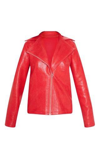Red Snake Pu Biker Jacket | Coats & Jackets | PrettyLittleThing