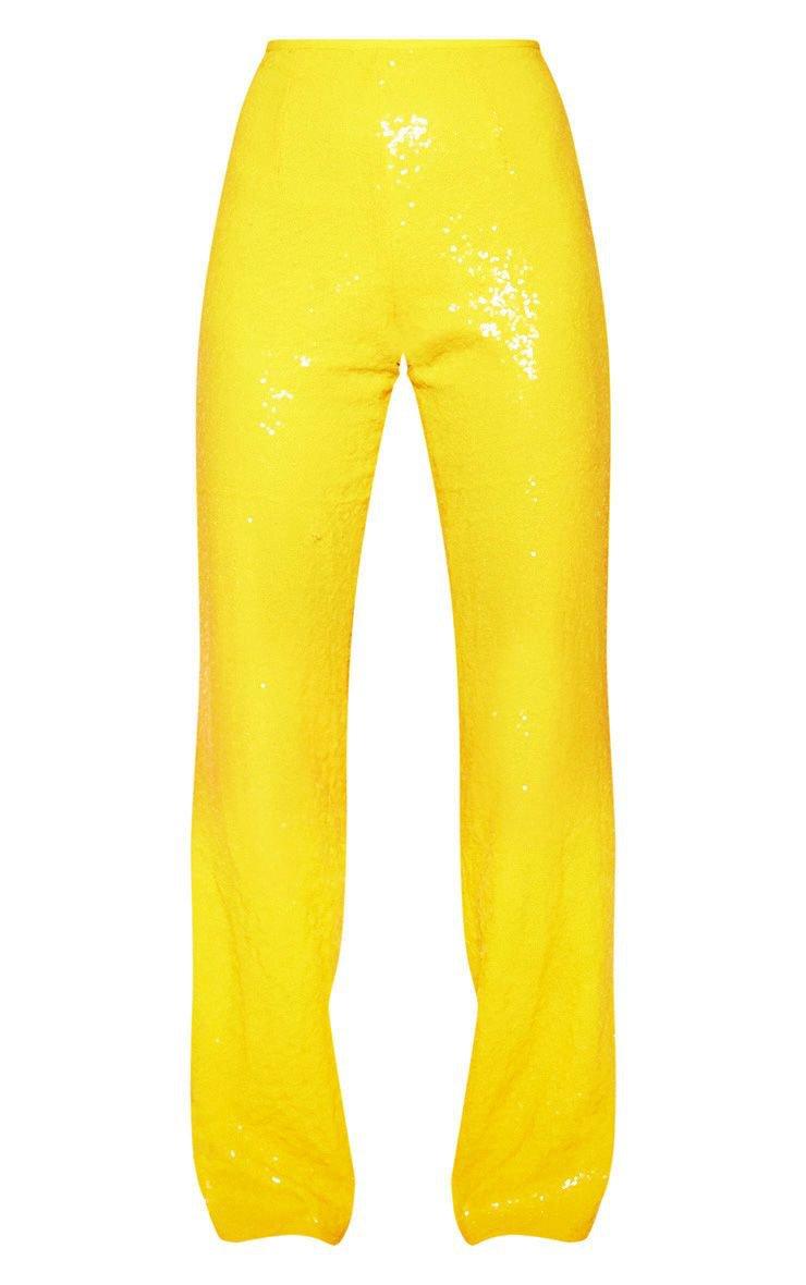 Yellow Sequin Flare Leg Pants | Pants | PrettyLittleThing USA