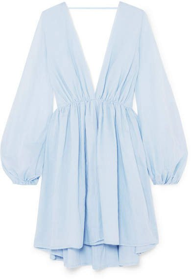 Aphrodite Gathered Cotton Mini Dress - Sky blue