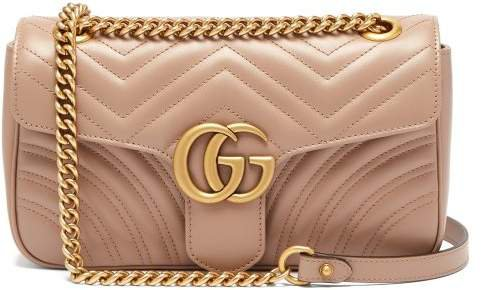 Gg Marmont Small Quilted Leather Shoulder Bag - Womens - Nude