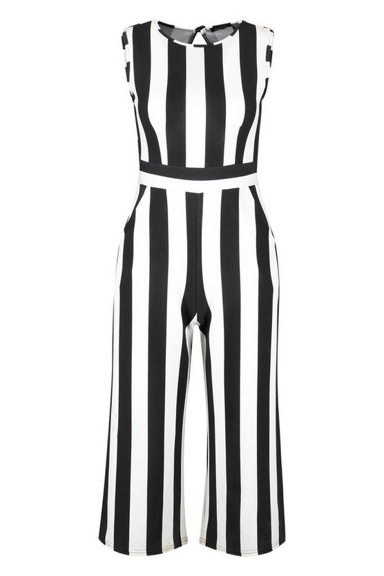 Petite Monochrome High Neck Striped Jumpsuit | Boohoo