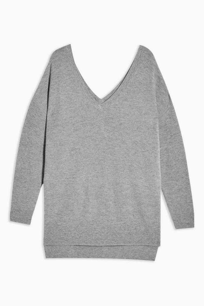 Grey V Neck Knitted Jumper With Cashmere   Topshop