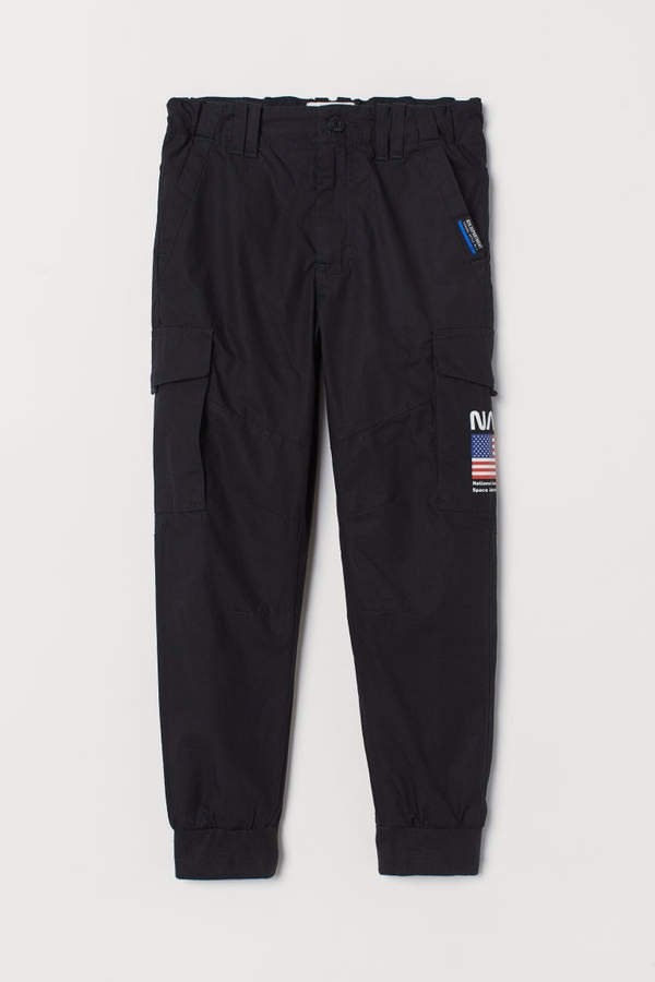 Lined Cargo Pants - Black