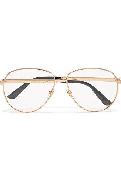 Gucci | Aviator-style gold-tone optical glasses | NET-A-PORTER.COM