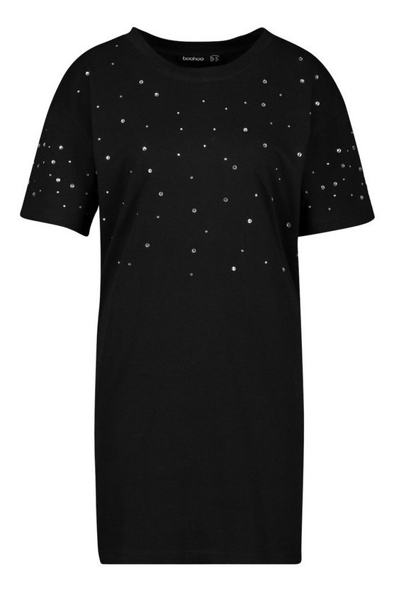 Diamonte Oversized T-Shirt Dress | Boohoo