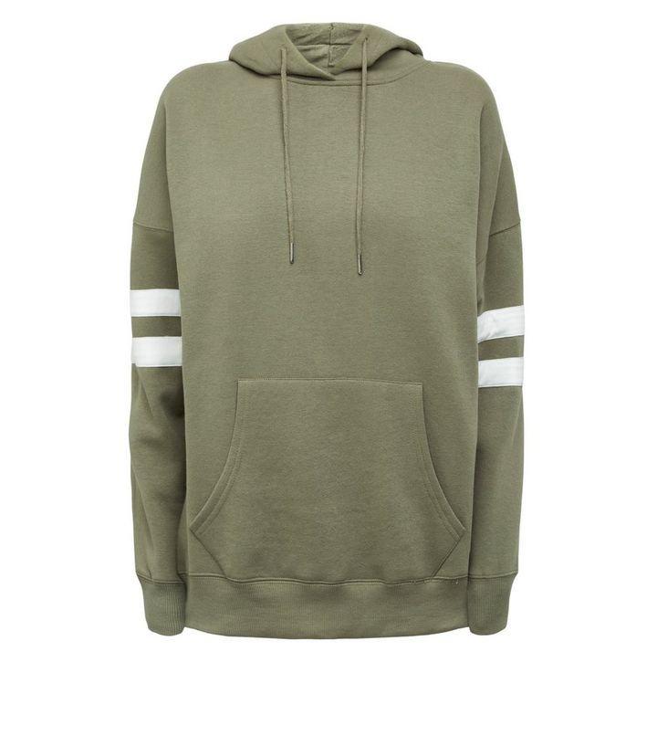 Khaki Stripe Sleeve Hoodie | New Look