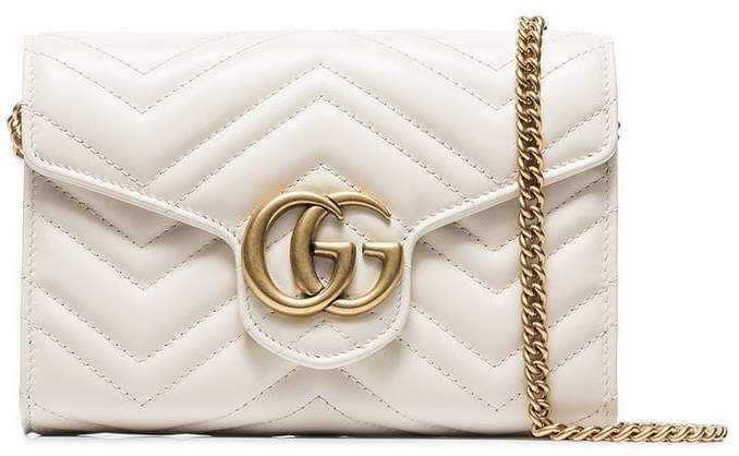 white GG marmont leather shoulder bag