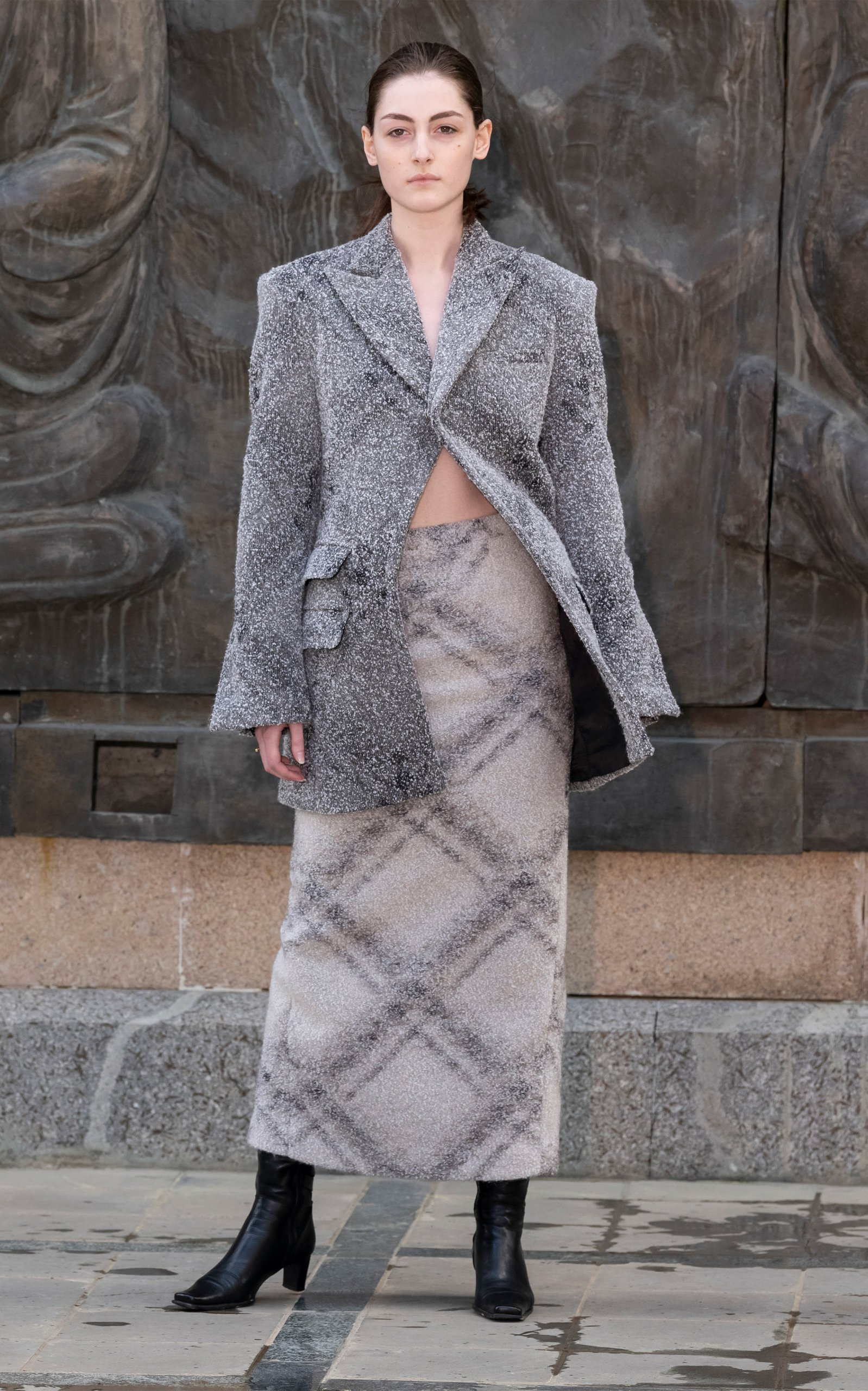 SITUATIONIST High-Rise Printed Wool-Blend Skirt