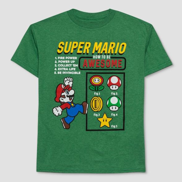Boys' Super Mario How To Be Awesome Short Sleeve T-Shirt - Green : Target
