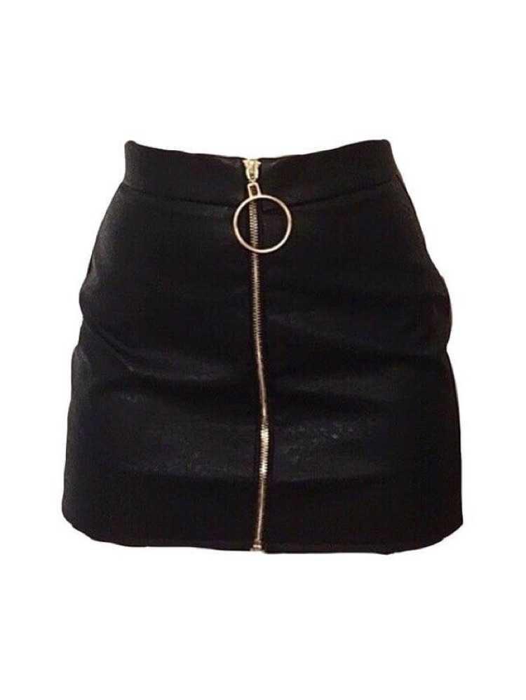 black zip up skirt