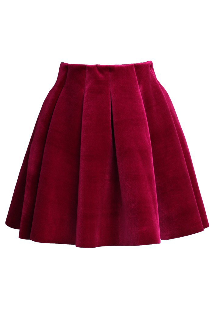 Wine Red Velvet Skater Skirt - Retro, Indie and Unique Fashion