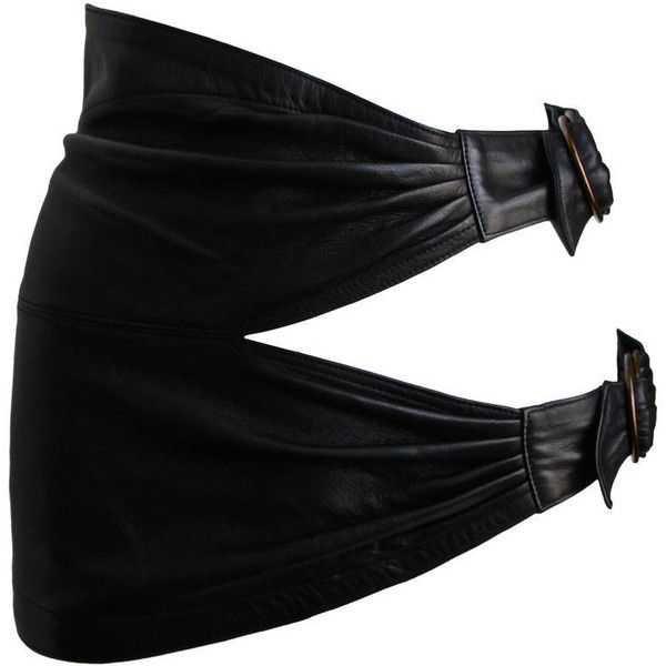 Vintage 1980s Azzedine Alaïa ultra mini leather skirt with buckles