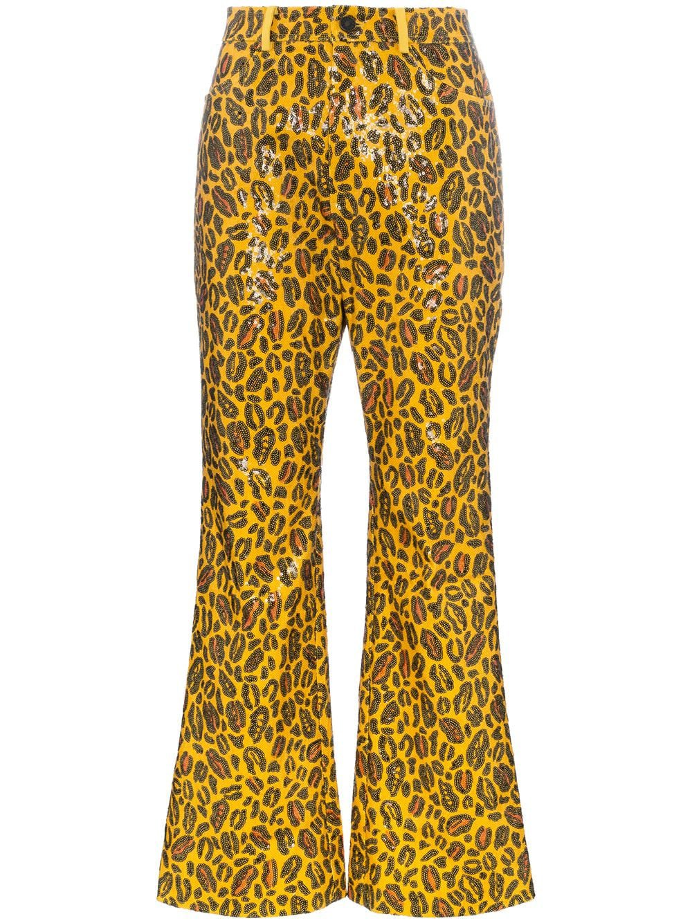 Charm's leopard printed sequin embellished trousers £118 - Buy Online - Mobile Friendly, Fast Delivery