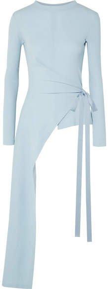 Draped Asymmetric Stretch-cotton Jersey Wrap Top - Sky blue