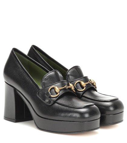 Leather platform loafer pumps