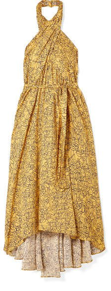 Wassily Printed Cotton-blend Voile Halterneck Dress - Yellow