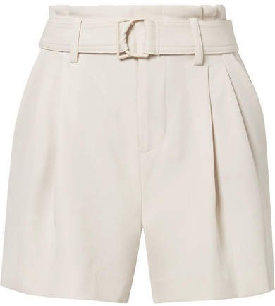Belted Pleated Crepe Shorts - Off-white