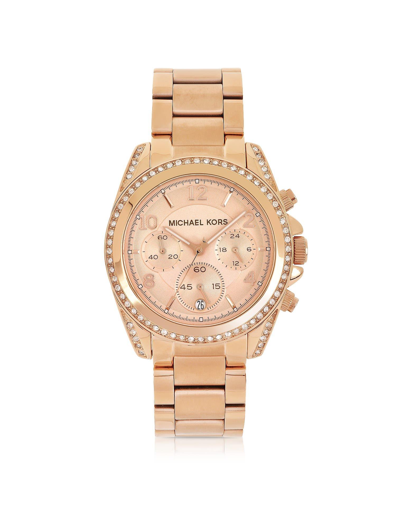 Michael Kors Rose Golden Stainless Steel Blair Chronograph Glitz Women's Watch