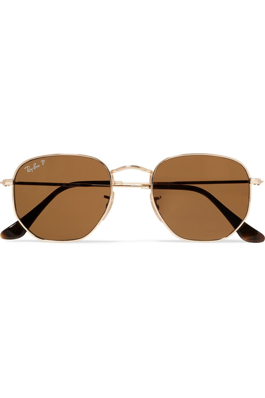 Ray-Ban | Hexagon-frame polarized gold-tone sunglasses | NET-A-PORTER.COM