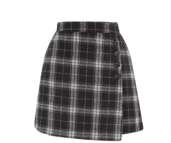 Grey, White & Blue Plaid Skirt
