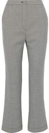 Houndstooth Wool-blend Bootcut Pants