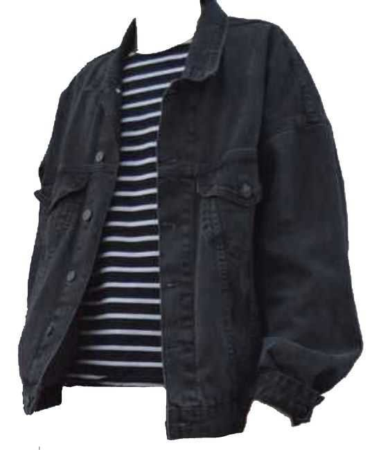 black jean jacket over a black and white striped tee shirt