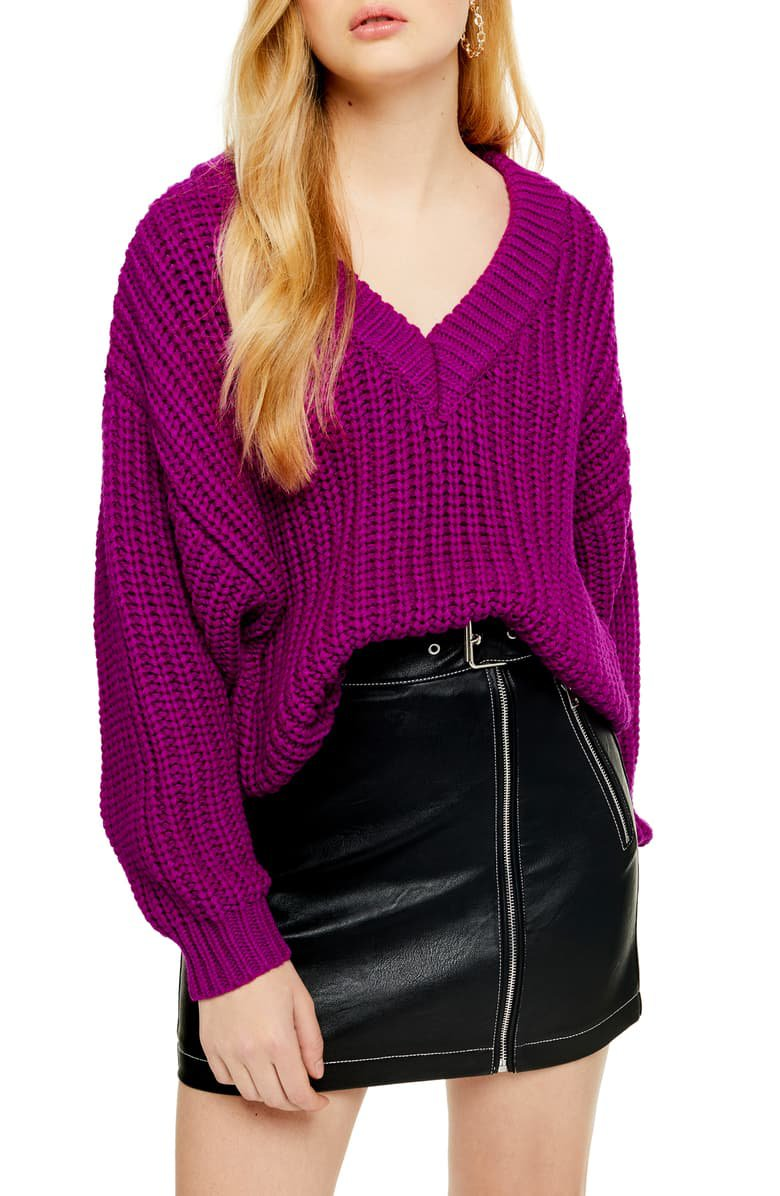 Topshop Oversize V-Neck Sweater | Nordstrom