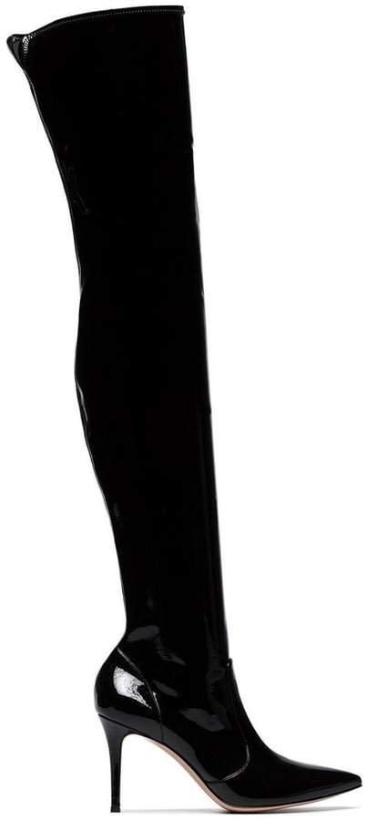 black 85 thigh high vinyl boots