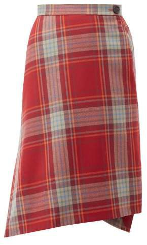 Infinity Tartan Wool Skirt - Womens - Red Multi