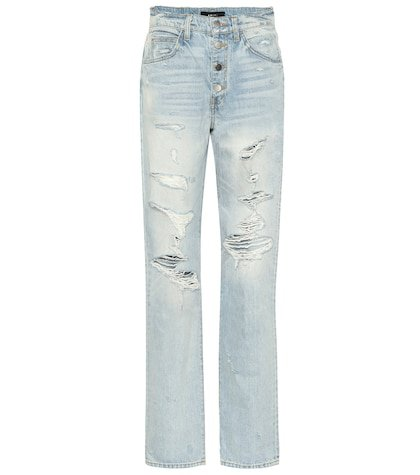 Slouch Destroyed high-rise jeans