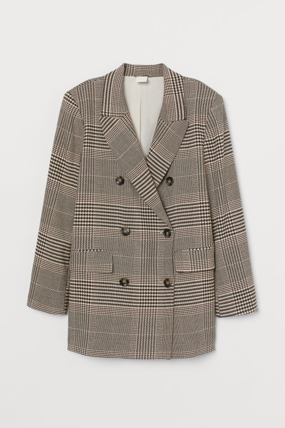 Double-breasted Jacket - Light beige/brown plaid - Ladies | H&M US