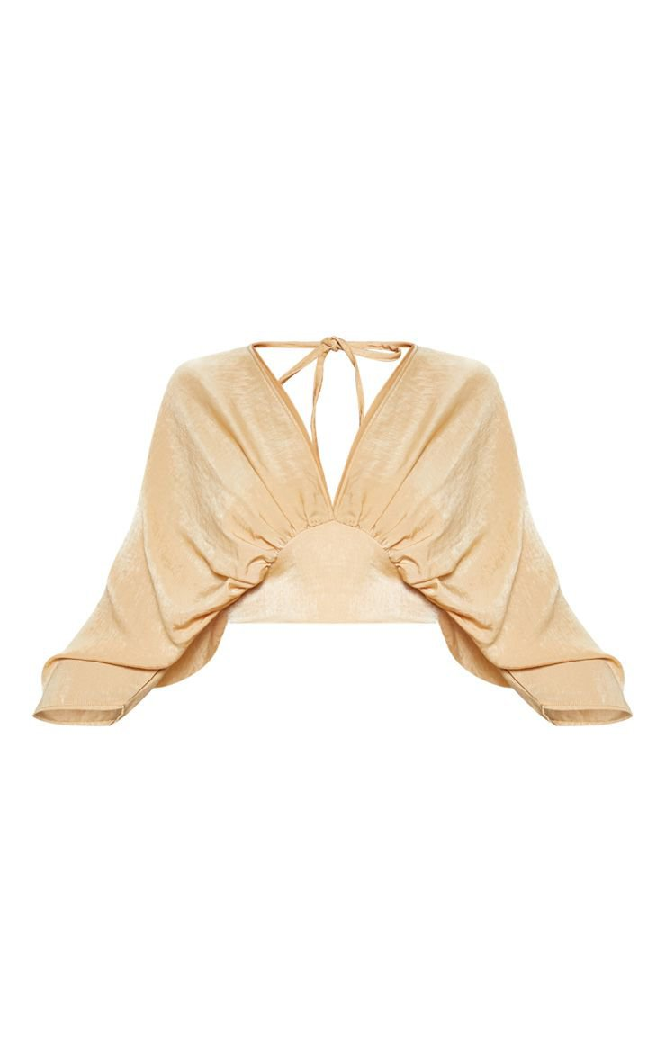 Gold Extreme Plunge Batwing Blouse | Tops | PrettyLittleThing